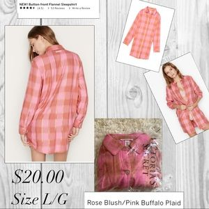 Button-front Flannel Sleepshirt /VICTORIA'S SECRET
